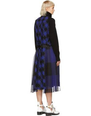photo Black and Blue Buffalo Check Turtleneck Dress by Sacai - Image 3