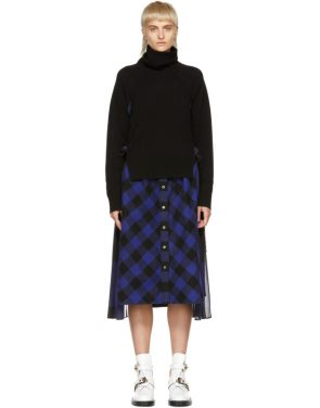 photo Black and Blue Buffalo Check Turtleneck Dress by Sacai - Image 1