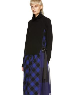 photo Black and Blue Buffalo Check Turtleneck Dress by Sacai - Image 4