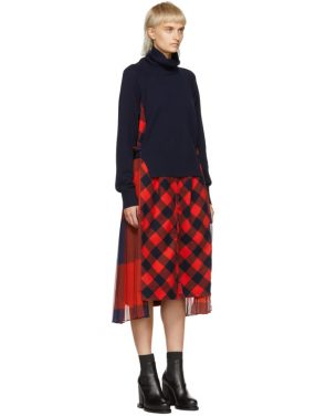 photo Navy and Orange Buffalo Check Turtleneck Dress by Sacai - Image 2