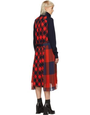 photo Navy and Orange Buffalo Check Turtleneck Dress by Sacai - Image 3