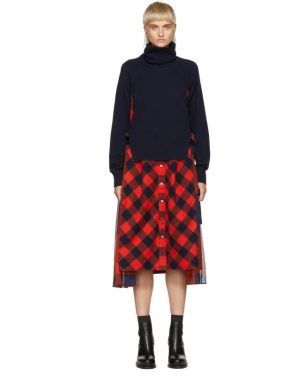 photo Navy and Orange Buffalo Check Turtleneck Dress by Sacai - Image 1