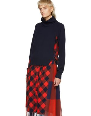 photo Navy and Orange Buffalo Check Turtleneck Dress by Sacai - Image 4