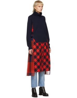 photo Navy and Orange Buffalo Check Turtleneck Dress by Sacai - Image 5