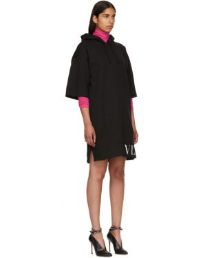 photo Black VLTN Short Hoodie Dress by Valentino - Image 2