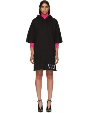 photo Black VLTN Short Hoodie Dress by Valentino - Image 1
