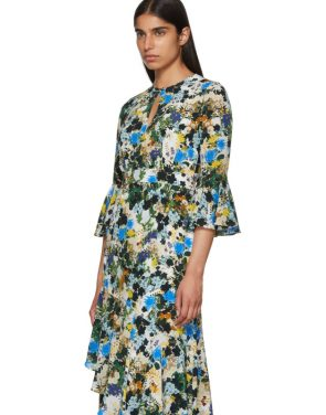 photo Multicolor Silk Floral Florence Dress by Erdem - Image 4