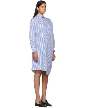 photo White and Blue Stripe Noma Dress by Toteme - Image 2