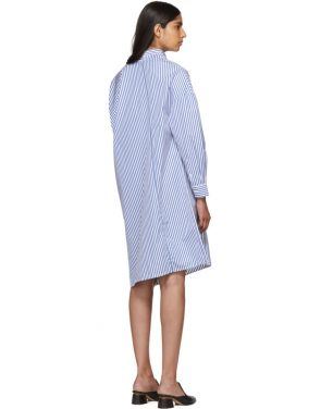 photo White and Blue Stripe Noma Dress by Toteme - Image 3