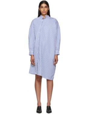 photo White and Blue Stripe Noma Dress by Toteme - Image 1