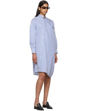 photo White and Blue Stripe Noma Dress by Toteme - Image 5