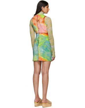 photo Multicolor Velvet Mini Dress by Eckhaus Latta - Image 3