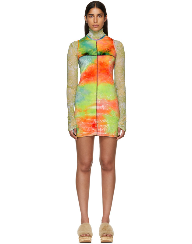 photo Multicolor Velvet Mini Dress by Eckhaus Latta - Image 1