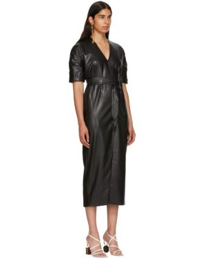 photo Black Vegan Leather Penelope Wrap Dress by Nanushka - Image 2