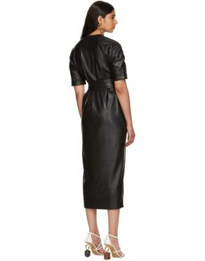 photo Black Vegan Leather Penelope Wrap Dress by Nanushka - Image 3
