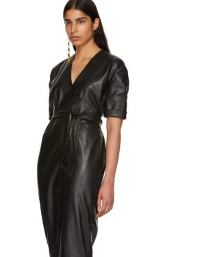 photo Black Vegan Leather Penelope Wrap Dress by Nanushka - Image 4