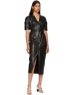 photo Black Vegan Leather Penelope Wrap Dress by Nanushka - Image 5