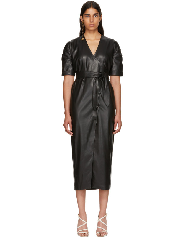 photo Black Vegan Leather Penelope Wrap Dress by Nanushka - Image 1