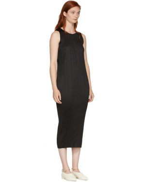 photo Black Basics Pleated Sleeveless Dress by Pleats Please Issey Miyake - Image 2