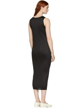 photo Black Basics Pleated Sleeveless Dress by Pleats Please Issey Miyake - Image 3