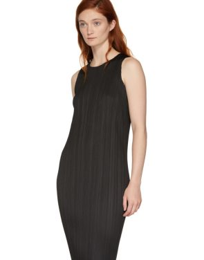 photo Black Basics Pleated Sleeveless Dress by Pleats Please Issey Miyake - Image 4