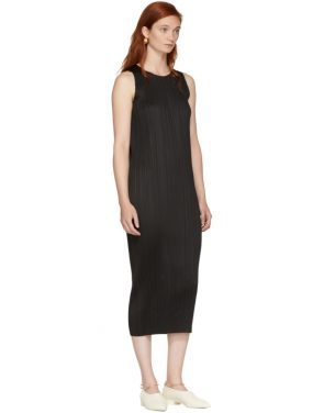 photo Black Basics Pleated Sleeveless Dress by Pleats Please Issey Miyake - Image 5