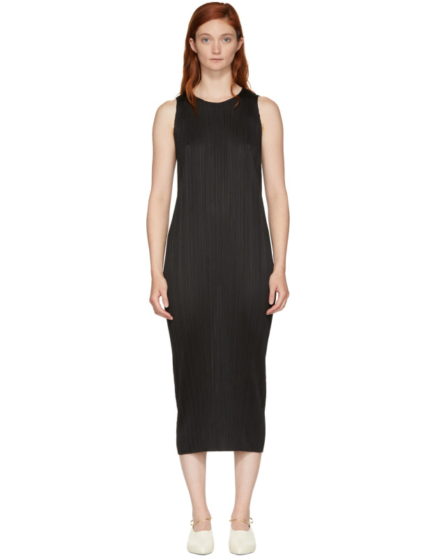 photo Black Basics Pleated Sleeveless Dress by Pleats Please Issey Miyake - Image 1