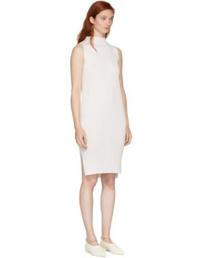 photo White Basics Pleated Sleeveless Dress by Pleats Please Issey Miyake - Image 2