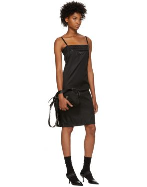 photo Black Strappy Short Dress by Prada - Image 5