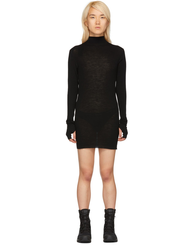 photo Black Rib Turtleneck Dress by Boris Bidjan Saberi - Image 1