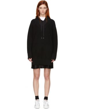photo Black Bi-Layer Hooded Dress by alexanderwang.t - Image 1