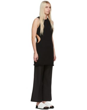 photo Black Silk Cut Away Tunic Dress by Marina Moscone - Image 2