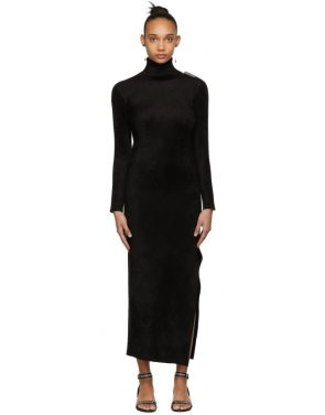 photo Black Velvet Turtleneck Fitted Dress by Balenciaga - Image 1