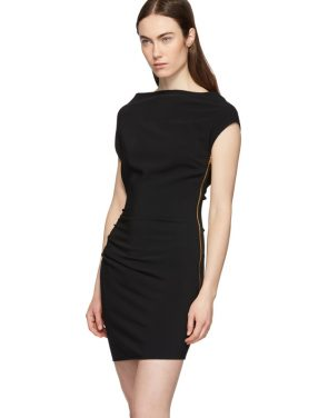 photo Black Ruched Sleeveless Dress by Versace - Image 4