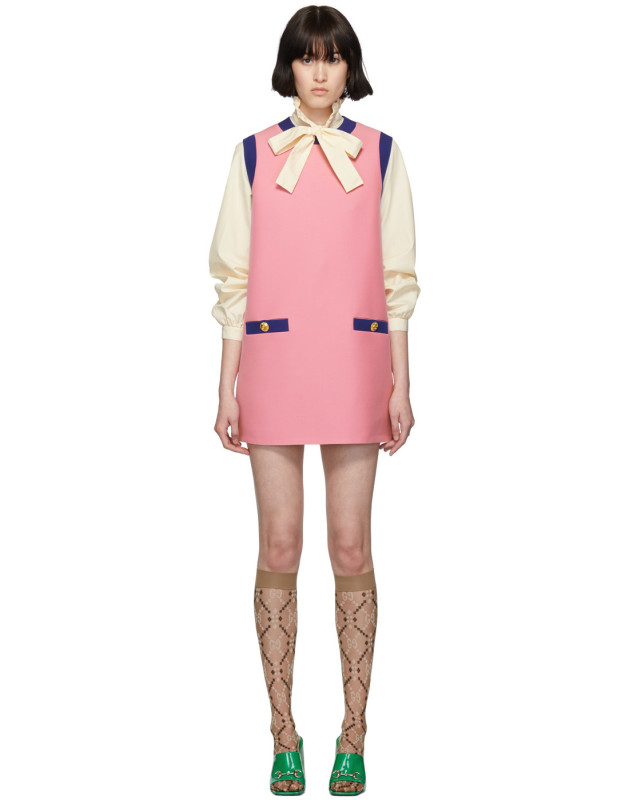 photo Pink and Blue Bicolor Mini Dress by Gucci - Image 1