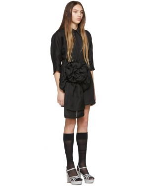 photo Black Pointy Collar Dress by Miu Miu - Image 2