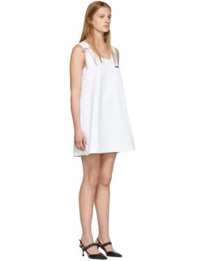 photo White Bow Detail Sleeveless Dress by Prada - Image 2