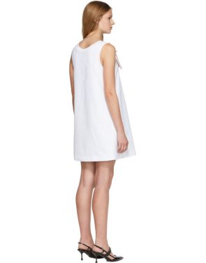 photo White Bow Detail Sleeveless Dress by Prada - Image 3