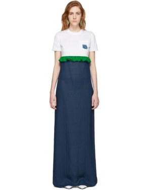 photo White and Blue Chiffon Long T-Shirt Dress by Prada - Image 1
