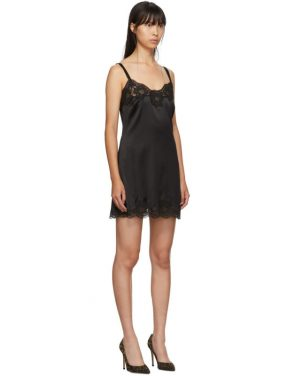 photo Black Silk Short Dress by Dolce and Gabbana - Image 2