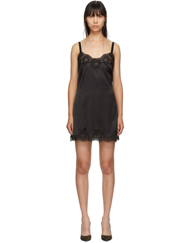 photo Black Silk Short Dress by Dolce and Gabbana - Image 1