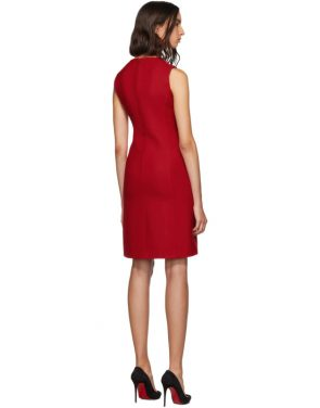 photo Red Short Crepe Dress by Dolce and Gabbana - Image 3