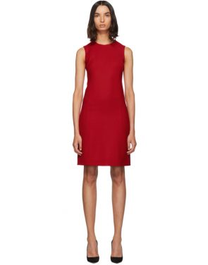 photo Red Short Crepe Dress by Dolce and Gabbana - Image 1