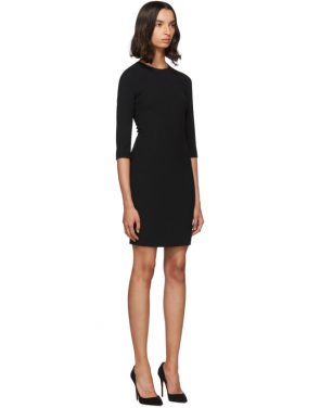 photo Black Three-Quarter Sleeve Mini Dress by Dolce and Gabbana - Image 2