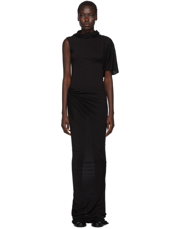 photo Black Turtleneck Gown Dress by Rick Owens Lilies - Image 1