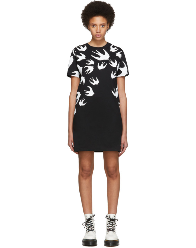 photo Black and White Swallow Signature T-Shirt Dress by McQ Alexander McQueen - Image 1