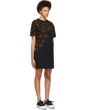 photo Black and Orange Embroidered Swallow Signature T-Shirt Dress by McQ Alexander McQueen - Image 2