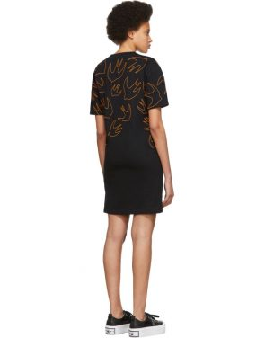 photo Black and Orange Embroidered Swallow Signature T-Shirt Dress by McQ Alexander McQueen - Image 3