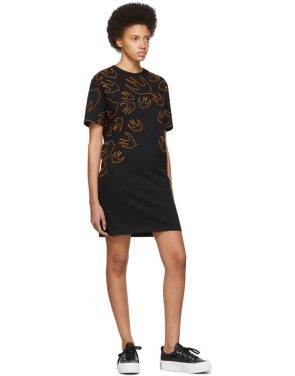 photo Black and Orange Embroidered Swallow Signature T-Shirt Dress by McQ Alexander McQueen - Image 5
