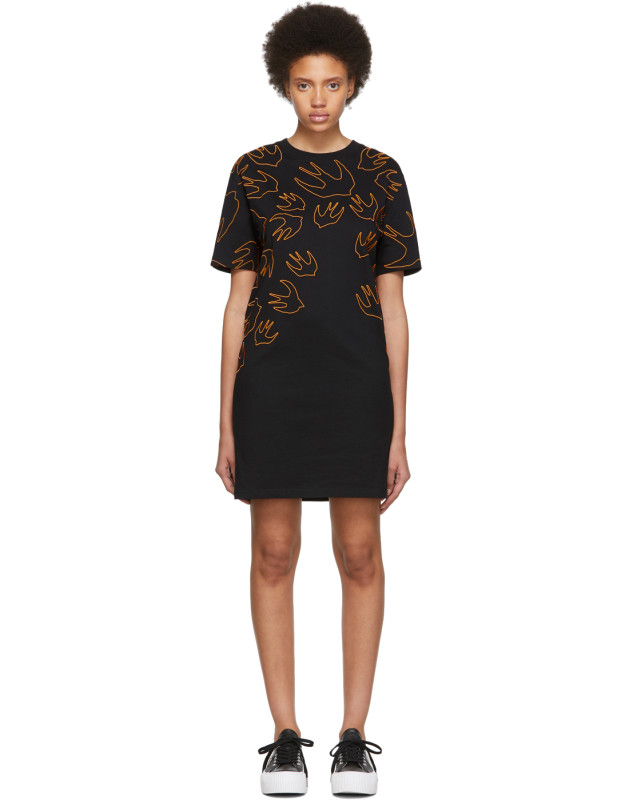 photo Black and Orange Embroidered Swallow Signature T-Shirt Dress by McQ Alexander McQueen - Image 1